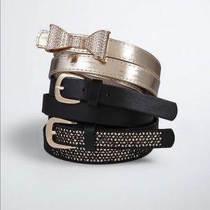 Accessories - Metallic gold belt with bow